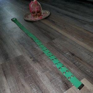 EUC green fabric double row holed belt